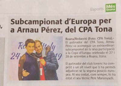 Subcampionat d'Europa per a Arnau Perez del CPA Tona